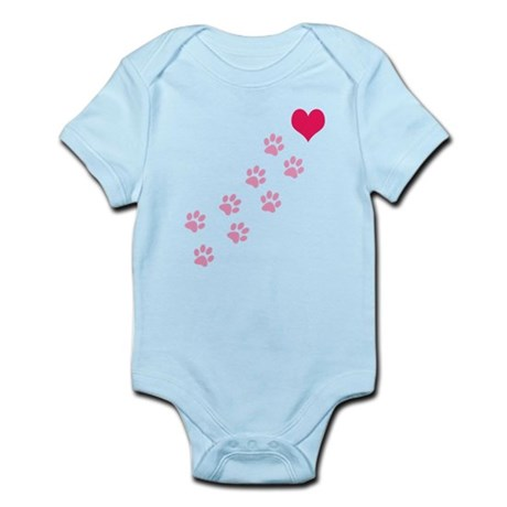Pink Paw Prints To My Heart Infant Bodysuit