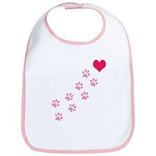 Pink Paw Prints To My Heart Bib