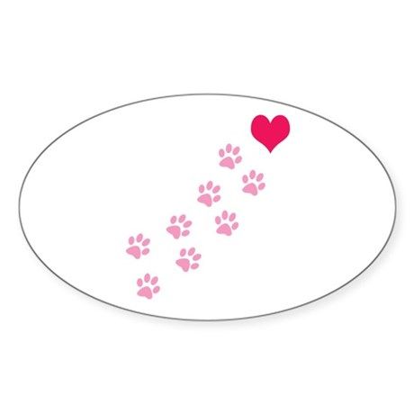 Pink Paw Prints To My Heart Oval Sticker