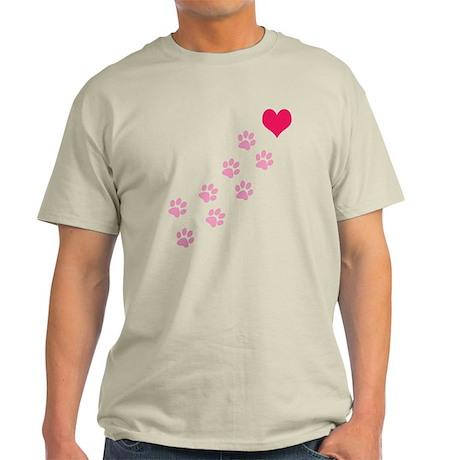 Pink Paw Prints To My Heart Light T-Shirt