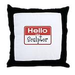 Sculptor Nametag Throw Pillow