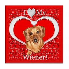Love My Wiener Tile Coaster