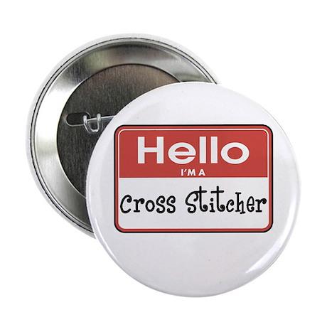 "Cross Stitcher Nametag 2.25"" Button"