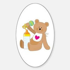 Baby Bottle and Bib Oval Decal