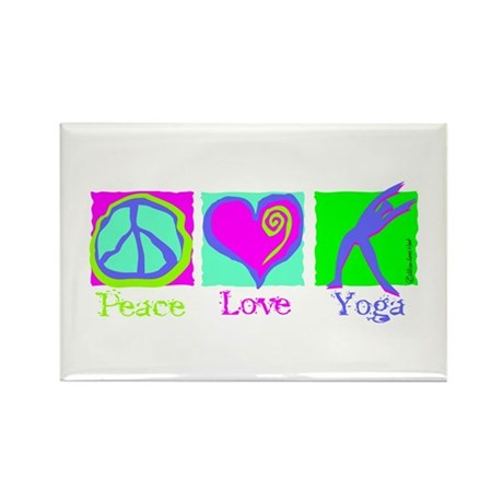 Peace Love Yoga Rectangle Magnet (10 pack)