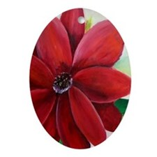 Bright, Bold Red Flower Keepsake (Oval)