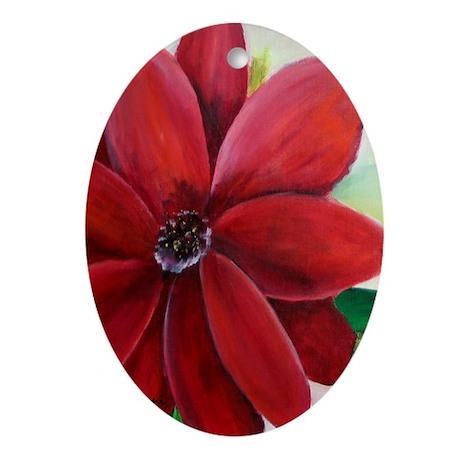 Bright, Bold Red Flower Keepsake (Oval)
