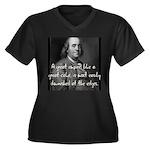 Benjamin Franklin Quote 3 Women's Plus Size V-Neck
