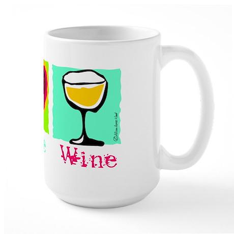 Peace Love Wine Large Mug