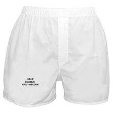 half human, half unicorn Boxer Shorts
