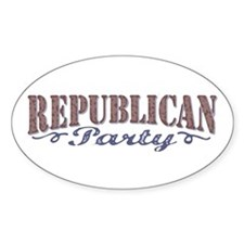 Retro Republican Elephant Oval Decal