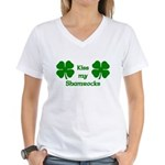 Kiss my Shamrocks Women's V-Neck T-Shirt