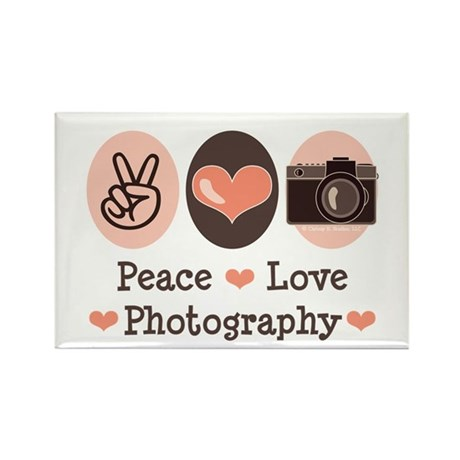 Peace Love Photography Camera Rectangle Magnet (10