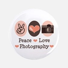 """Peace Love Photography Camera 3.5"""" Button (100 pac"""