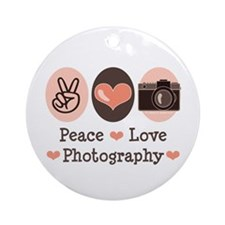 Peace Love Photography Camera Ornament (Round)