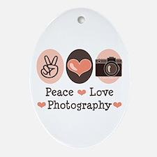 Peace Love Photography Camera Oval Ornament