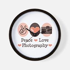 Peace Love Photography Camera Wall Clock