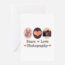 Peace Love Photography Camera Greeting Cards (Pk o
