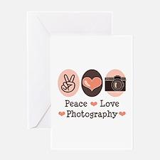 Peace Love Photography Camera Greeting Card