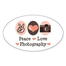 Peace Love Photography Camera Oval Decal