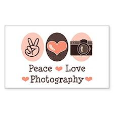 Peace Love Photography Camera Sticker (Rectangular