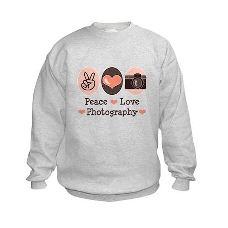 Peace Love Photography Camera Kids Sweatshirt