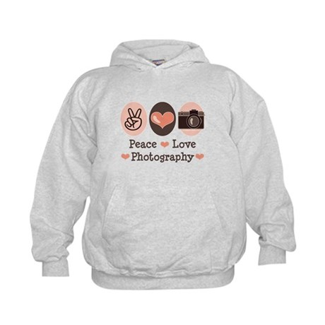 Peace Love Photography Camera Kids Hoodie