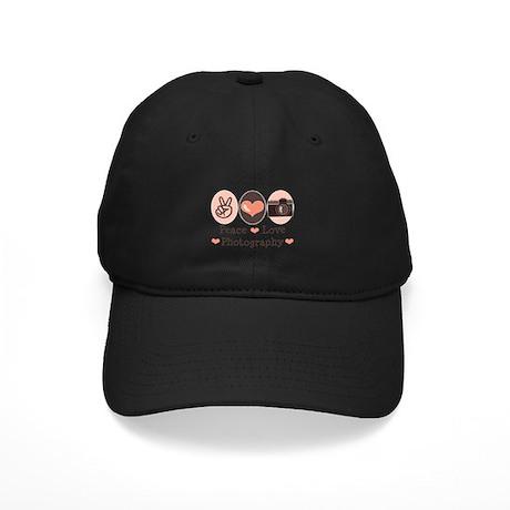 Peace Love Photography Camera Black Cap