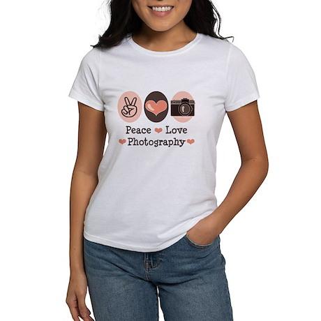 Peace Love Photography Camera Women's T-Shirt