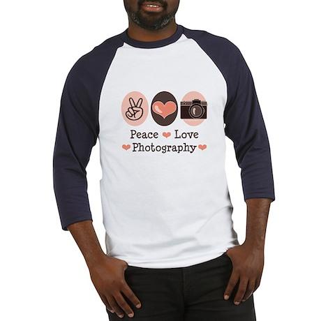 Peace Love Photography Camera Baseball Jersey