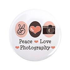 "Peace Love Photography Camera 3.5"" Button"