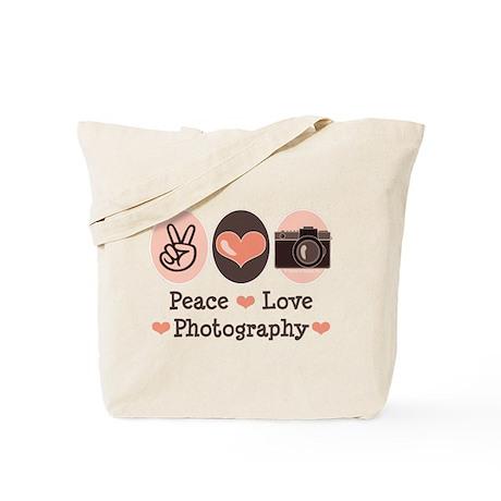 Peace Love Photography Camera Tote Bag