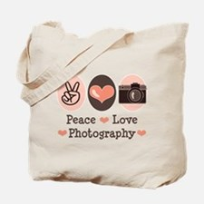 Peace Love Photography Camera Tote Bag