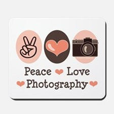Peace Love Photography Camera Mousepad