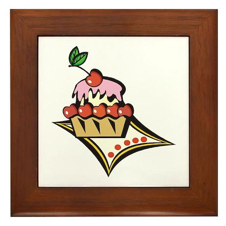CHERRY CUPCAKE Framed Tile
