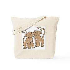 Cute Monkey Couple Tote Bag