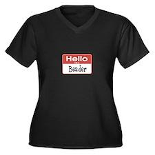 Beader Nametag Women's Plus Size V-Neck Dark T-Shi