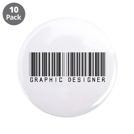 "Graphic Designer Barcode 3.5"" Button (10 pack)"