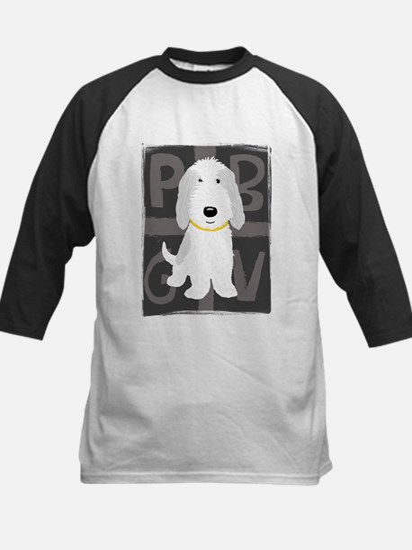 Grey & White PBGV Kids Baseball Jersey
