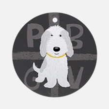 Grey & White PBGV Ornament (Round)