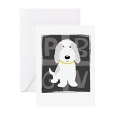 Grey & White PBGV Greeting Card