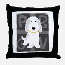 Grey & White PBGV Throw Pillow
