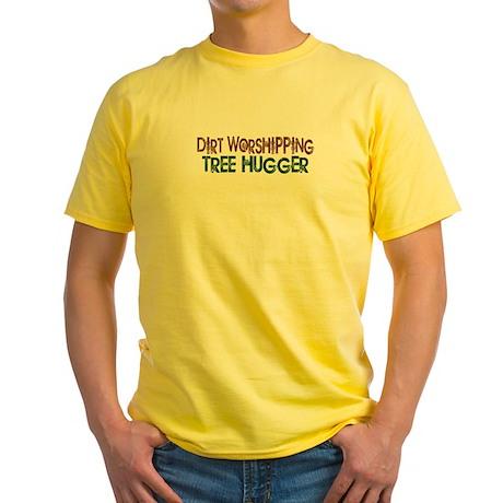 Dirt Worshipping Tree Hugger Yellow T-Shirt