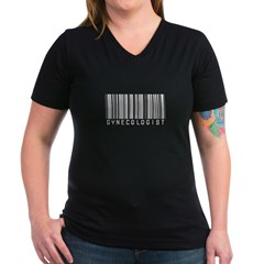 Gynecologist Barcode Women's V-Neck Dark T-Shirt