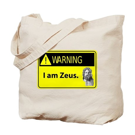 Warning: I Am Zeus Tote Bag