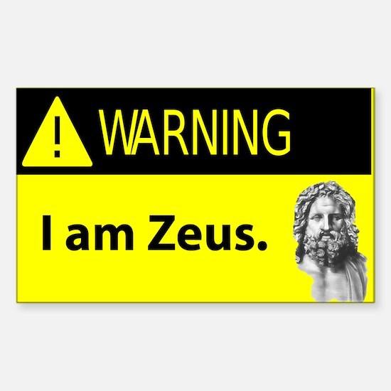 Warning: I Am Zeus Rectangle Decal