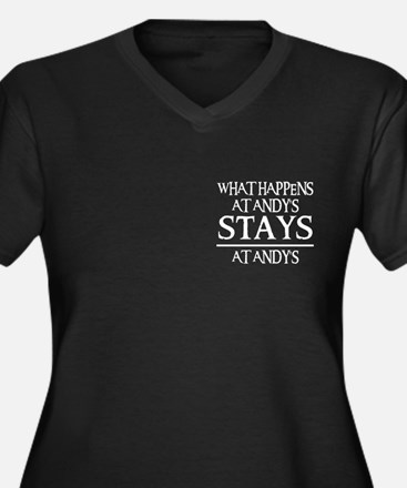 STAYS AT ANDY Women's Plus Size V-Neck Dark T-Shir