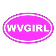 WV GIRL West Virginia Girl Pink Oval Stickers