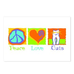 Peace Love Cats Postcards (Package of 8)