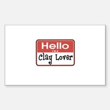 Clay Lover Nametag Rectangle Decal